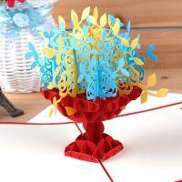 创意3d立体纸雕手工折纸型贺卡diy同事上司祝福礼品聚宝盆批发图片