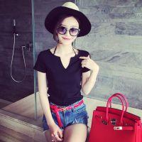 小银子2015夏装新款简约百搭V领双层棉质短袖T恤B