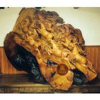 东渝木雕定制工艺品摆件八马图八骏马奔腾立体浮雕