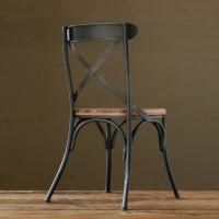 美式复古铁艺餐椅 餐厅椅子仿古实木家具背叉椅创意铁餐椅 批发