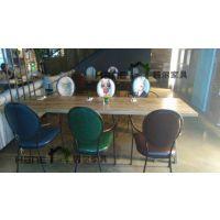 直销徐汇区HR-C112复古餐桌椅 西餐厅实木桌椅定制 上海韩尔家具供应