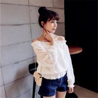 2016秋季新款韩版女装宽松百搭一字领露肩长袖雪纺衫显瘦打底衫潮