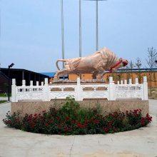 石雕牛晚霞红石雕开荒牛大型广场石牛雕刻曲阳厂家定做