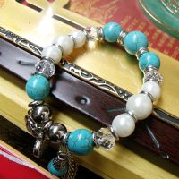 S21 西藏民族饰品 合成绿松石手链 藏族个性手链 手工手链批发