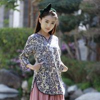 特价中国风v领中式棉麻印花七分袖圆摆气质修身女上衣打底衫T恤