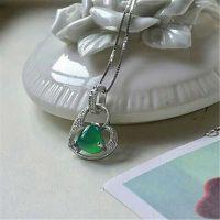 s925纯银珠宝首饰 韩版水钻爱心项饰 天然绿玛瑙爱心纯银项链批发