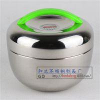 不锈钢QQ苹果双层玲珑保温便当饭盒