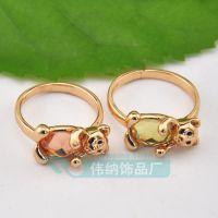AA5788 韩版可爱镶水密桃水晶熊猫饰品韩版水晶小熊戒指 指环批发