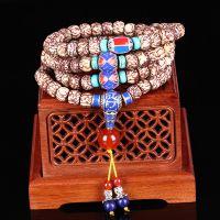 印尼龙泉血丝金线菩提子大小银线108佛珠念珠桶珠藏式民族风手链