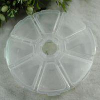 每个小盒能单独打开圆形8格透明塑料收纳盒  DIY串珠点钻收纳工具