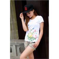 【厂家直销】夏季新款成衣数码直喷全棉成衣女式短袖T恤