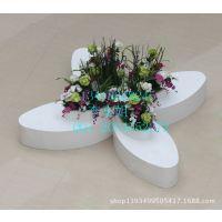 玻璃钢商场休闲椅组合 花瓣造形休闲椅 花盆式组合休闲椅 创意休闲椅