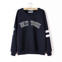 2014秋装新款纽约字母蓝色长袖宽松套头卫衣打底衫女 10243