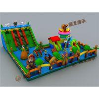 熊出没主题大型组合充气玩具气垫床,广场经营充气城堡生意怎么样?