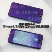 批发 彩色钢化玻璃膜 彩色强化玻璃贴膜 iphone手机屏幕保护膜