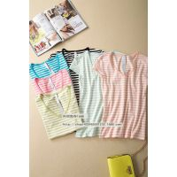 外贸原单 2015夏女装 糖果色条纹打底衫短袖半袖女T恤上衣