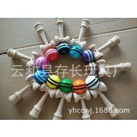 厂家直销 民俗木制玩具 技巧球 剑玉 剑球 条纹 迷你型KENDAMA