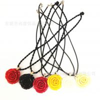 进口树脂 简约玫瑰花时尚项链 7色可选 价格实惠  厂家直销