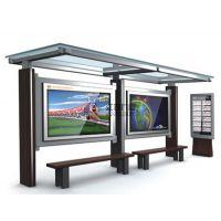 生产制作带有不锈钢玻璃顶棚,铝型材框架的,外观时尚靓丽,符合现代都市气息的新型公交站台--04
