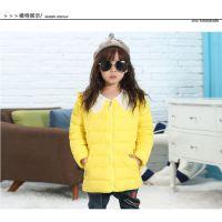 2016秋冬新款儿童羽绒服 韩版女童珍珠领羽绒外套 2-7岁小孩羽绒