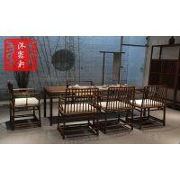 沐霖轩新中式茶桌老榆木免漆餐桌茶社会所实木家具茶桌椅组合
