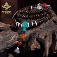藏传佛珠正宗天然椰壳椰片108长款念珠手串 时尚手链男女款批发