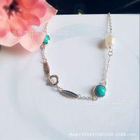 2015热销款珍珠绿松石手链时尚甜美款式925银一件代发厂家直销