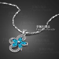 高档天然蓝宝石吊坠女款 韩版小清新花朵925纯银项链 一件混批
