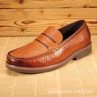 新款真皮透气皮鞋 休闲男鞋舒适套脚单鞋 品牌男鞋大象纹牛皮男鞋