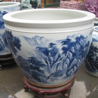 青花瓷鱼缸,1米陶瓷水缸,唐龙陶瓷缸定做厂家