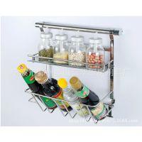 富华厨房收纳架不锈钢置物架调味篮罐瓶厨房挂件年度爆款厂家直销