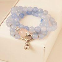 佛牌天然蓝水晶猫眼石平安富贵葫芦多层手链女批发