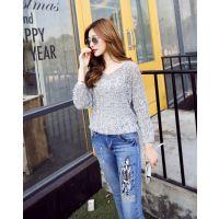 韩国蝙蝠袖宽松版针织衫薄款 秋季新款 套头大码打底衫女厂家直销