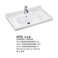 厂家直销【骏姿】8253 60 70 80 1米新款陶瓷中边盆 浴室柜台盆 潮州陶瓷盆