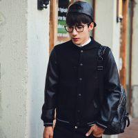 2015春季男式夹克PU皮袖拼接后背刺绣修身款黑色男夹克