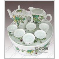 景德镇手绘粉彩高档茶具,功夫茶具,陶瓷中国红陶瓷茶具