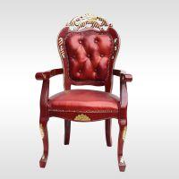 东北桦木 餐厅家具欧式餐桌椅 酒店雕花椅子 扶手休闲椅 实木椅子