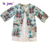现货热销 日本原单 女童连衣裙   假两件套碎花格子裙
