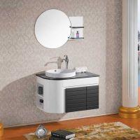 佛山卫浴洁具  现代浴室柜 黑白实木柜 工程酒店浴室柜 A007