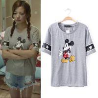 2015夏季赵薇明星同款亮片卡通印花短袖百搭休闲T恤 D35358