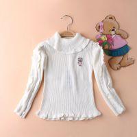 外贸童装 韩国小熊原单新款2015年春季高翻领女童毛衣 打底衫
