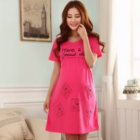 夏季加大新款韩版可爱卡通孕妇裙月子哺乳裙睡裙孕妇家居服