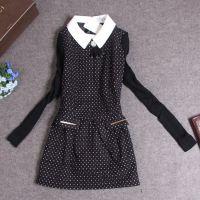 JGR8052日系人气学院范女装秋冬新款针织袖拼接款小翻领连衣裙