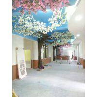 走廊仿真植物布置 墙壁仿真樱花树定做 仿真花树厂家直销