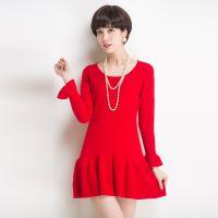 厂家直销 秋冬新款甜美纯色针织打底连衣裙 中长款修身毛衣裙女装