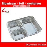 义乌厂家供应三格铝箔餐盒,一次性打包盒,外卖盒,锡纸盒
