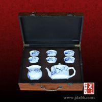 纪念礼品厂家 青花玲珑瓷茶具套装定做