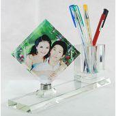 白胚批发 水晶影像定制照片定做特别礼品 创意生日礼物文具两件套