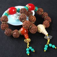 尼泊尔蜜蜡绿松石金刚菩提佛珠手串男士大金刚菩提子红皮满肉念珠