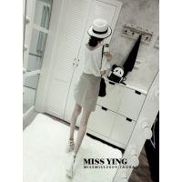 MISS YING-白色前后蕾丝花边V领上衣